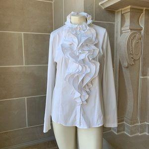 Escada Ruffle Neck Cotton Shirt
